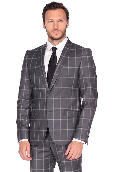e709a0671db Серый мужской костюм (65 фото)  деловые модели в клетку