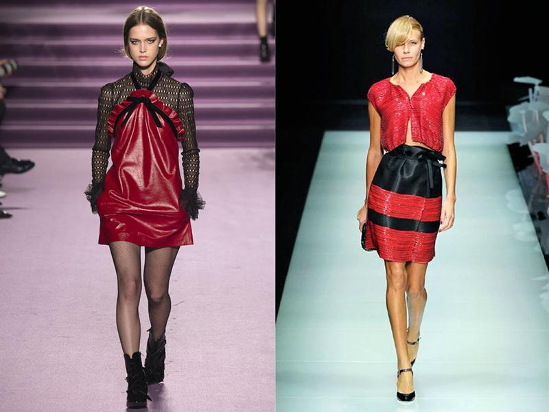Сочетание красного цвета в одежде и макияже
